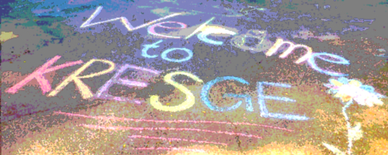 chalked welcome on pavement